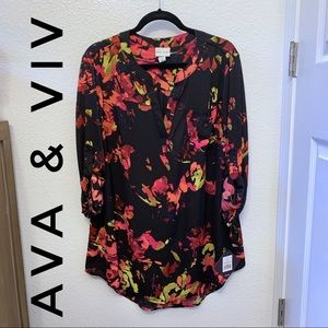 Ava & Viv Floral Sheer Tunic with Pocket